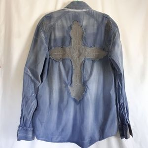 Roar Cross Embellished Chambray Shirt Size Large